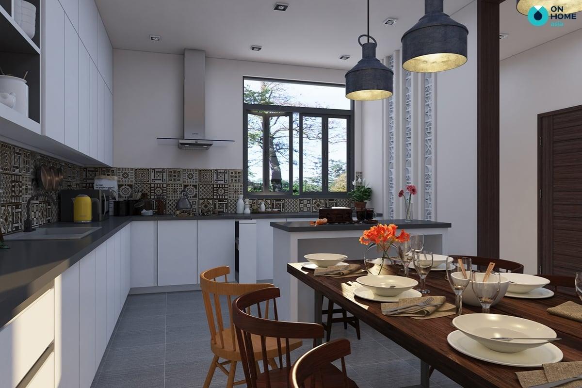thiết kế phòng bếp có tủ bếp kịch trần