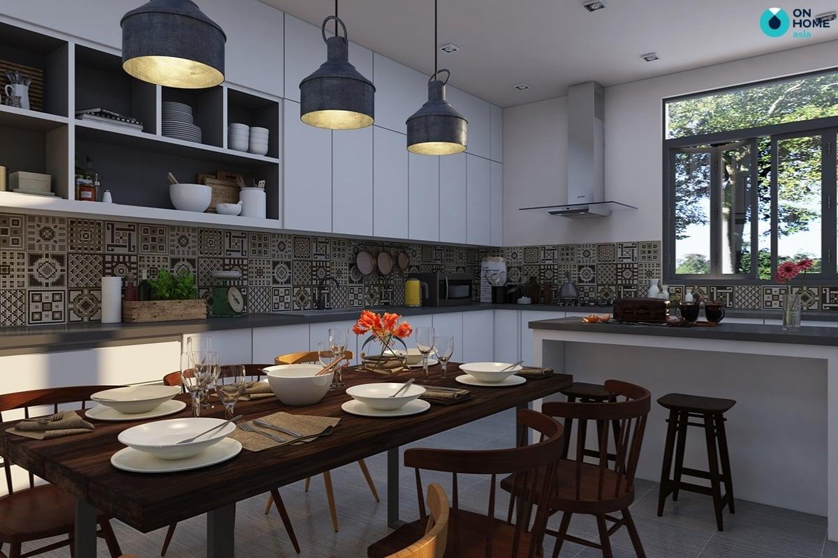 nhà bếp với tủ bếp kịch trần