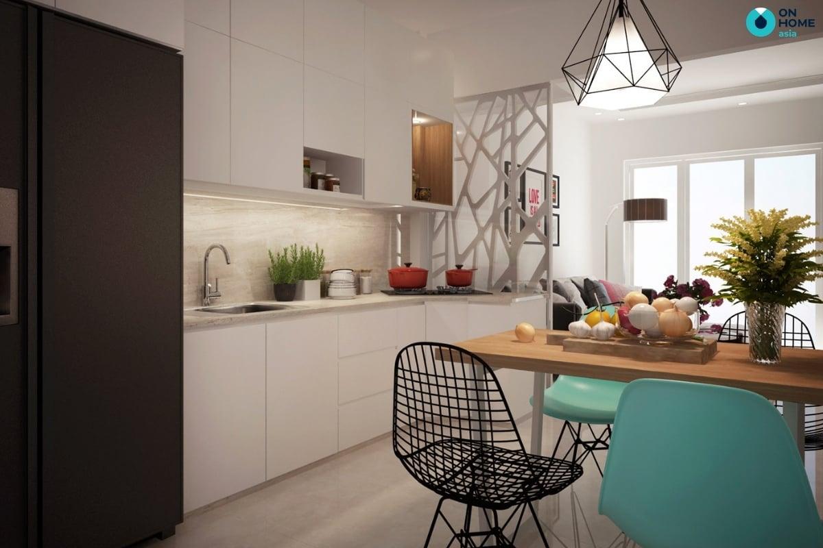 phòng bếp với vách ngăn