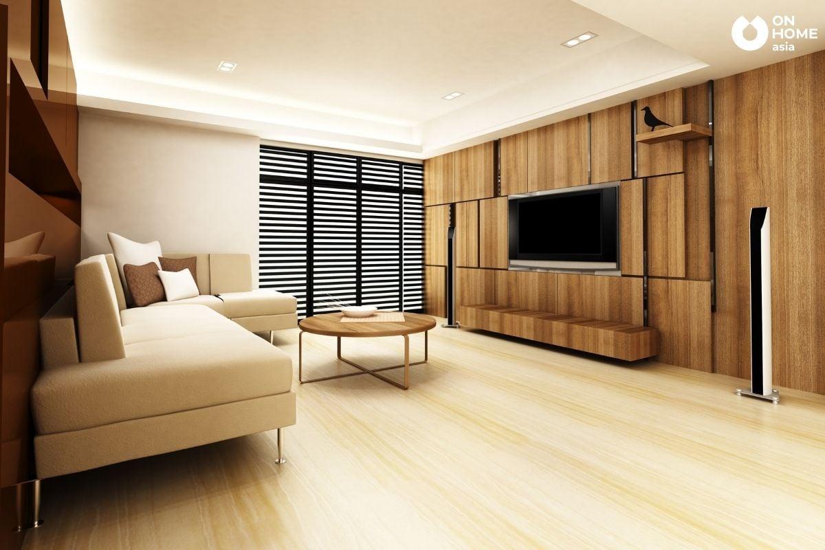 Ánh sáng nhân tạo cho không gian phòng khách