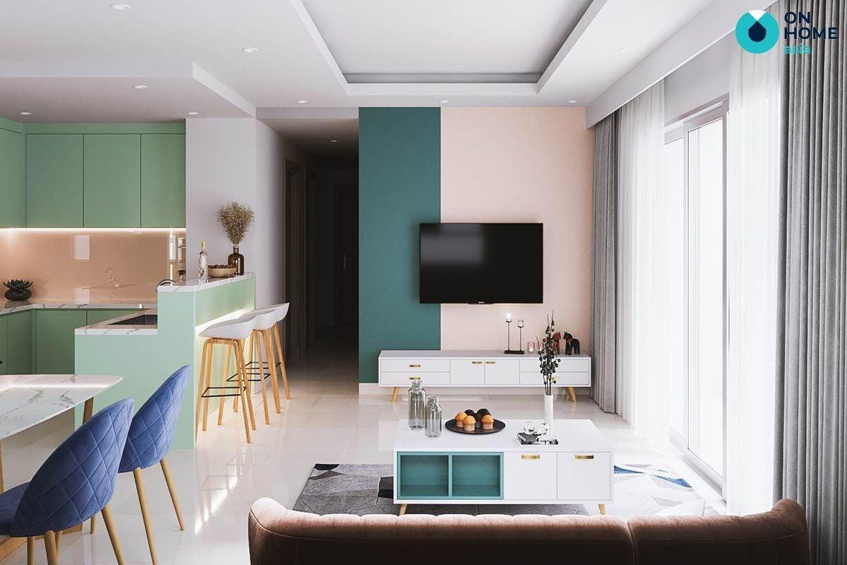 Phòng khách - Nội thất chung cư The View 3 phòng ngủ
