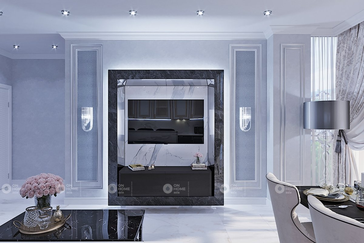Thiết kế phòng khách chung cư tân cổ điển sang trọng