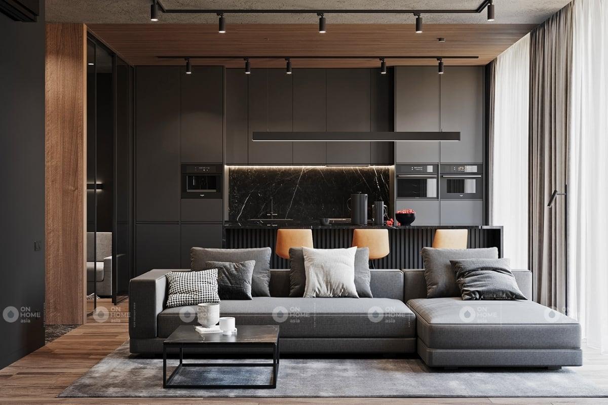Thiết kế nội thất phòng khách với màu đen là màu chủ đạo