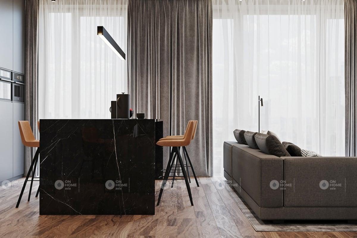 Một góc phòng khách và bếp