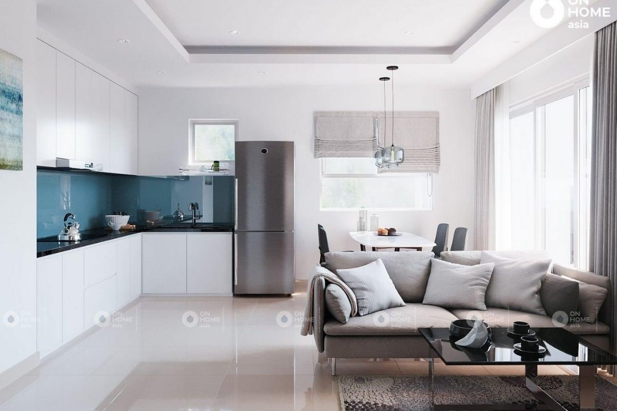 Không gian phòng khách ghi điểm với gam màu nhẹ nhàng