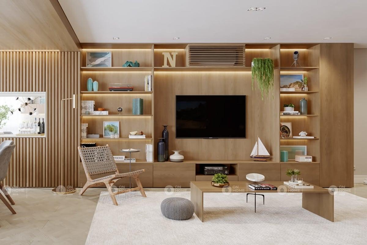 Nội thất phòng khách với chất liệu gỗ ấm cúng