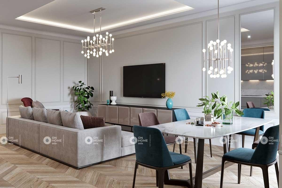 Thiết kế phòng khách chung cư phong cách tân cổ điển