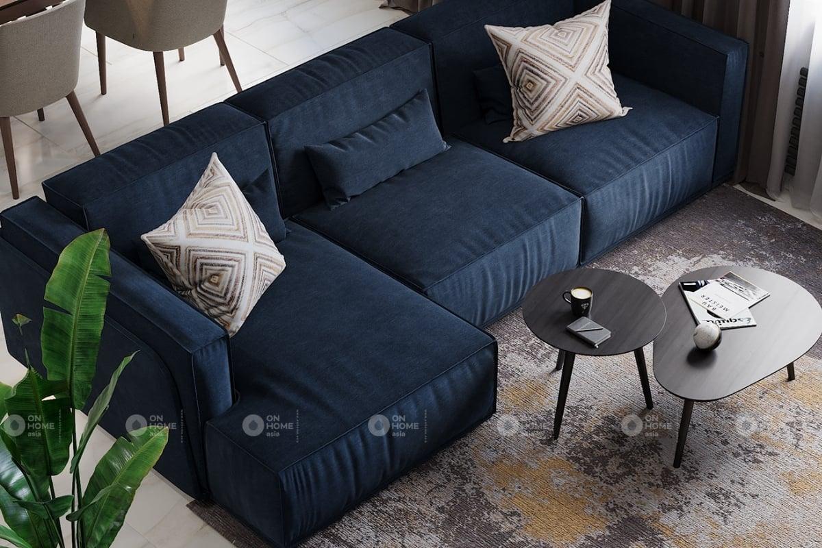 Sofa phòng khach với màu xanh navy mới lạ