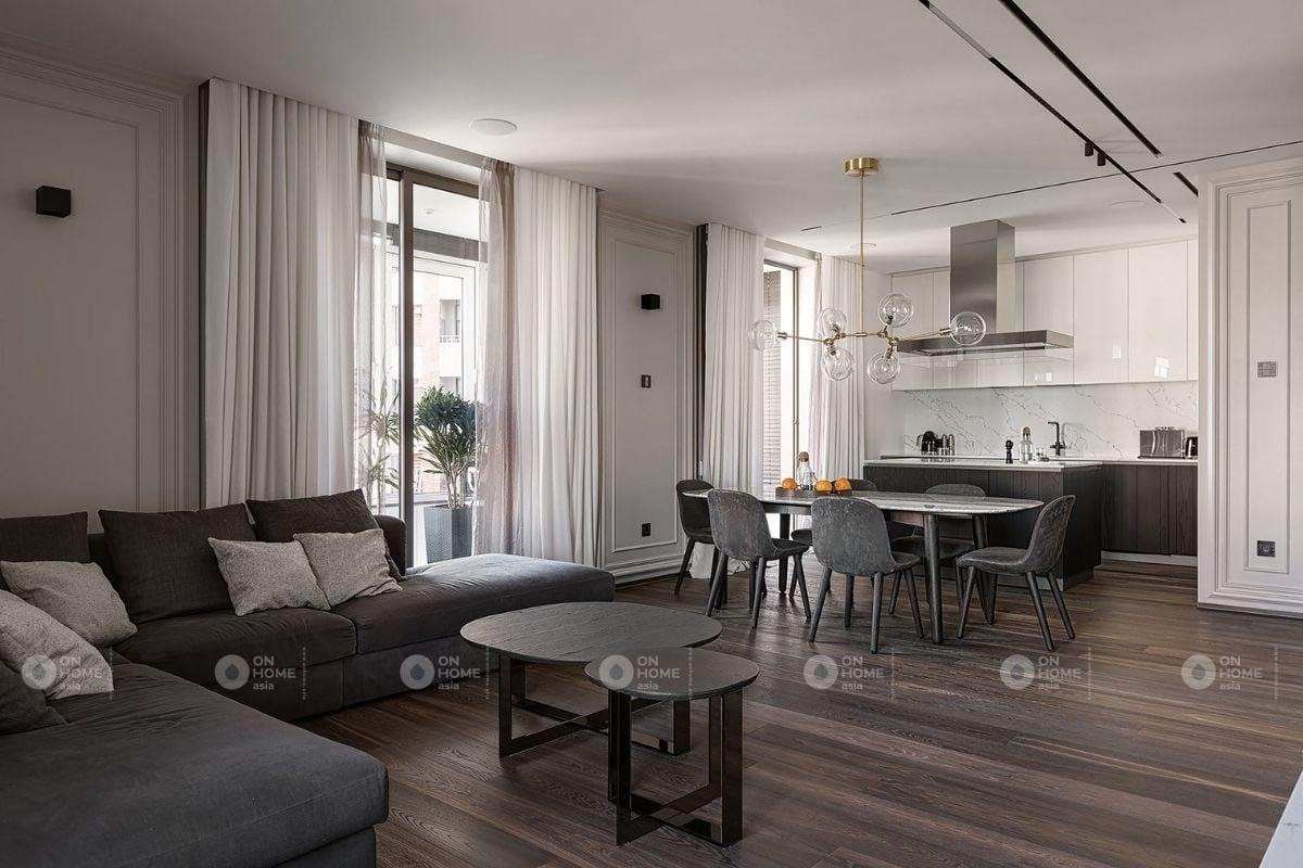 Phòng khách và phòng bếp nối liền nhau