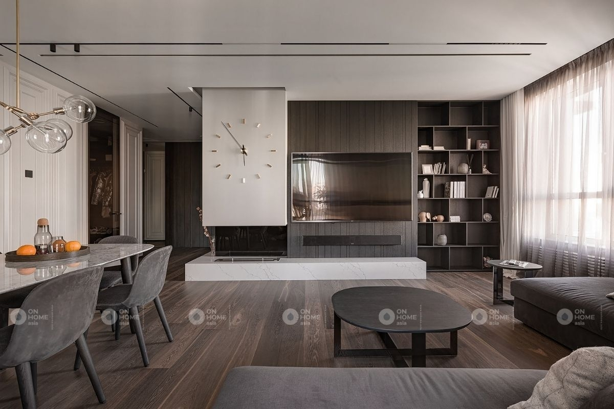 Một góc phòng khách và phòng bếp chung cư 100m2