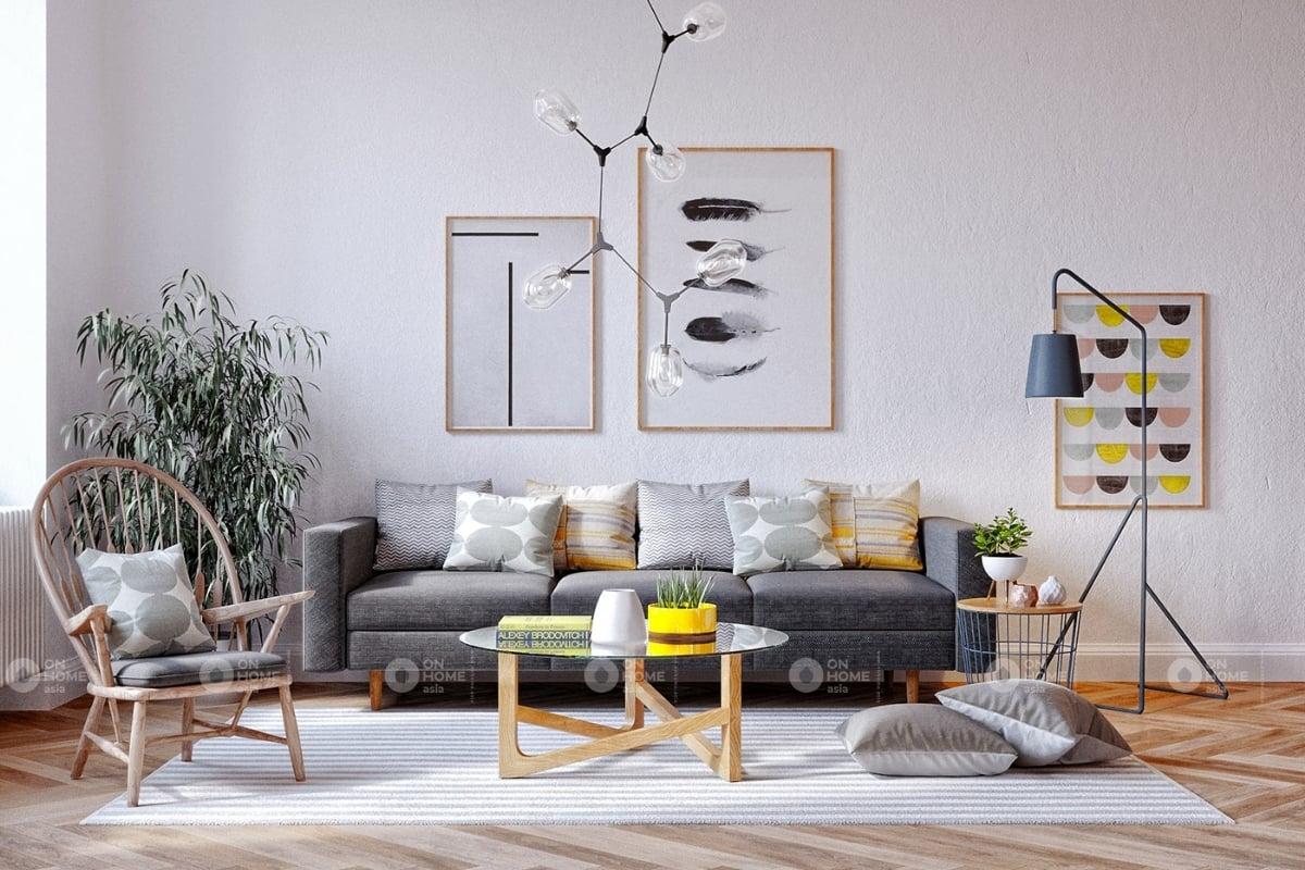 Thiết kế nội thất phòng khách theo phong cách scanivania