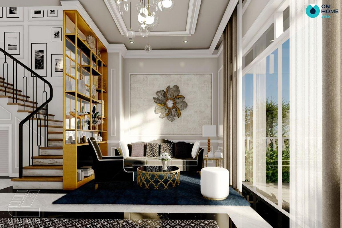 Nội thất phòng khách đẹp dự án nhà phố Ecolakes Mỹ Phước