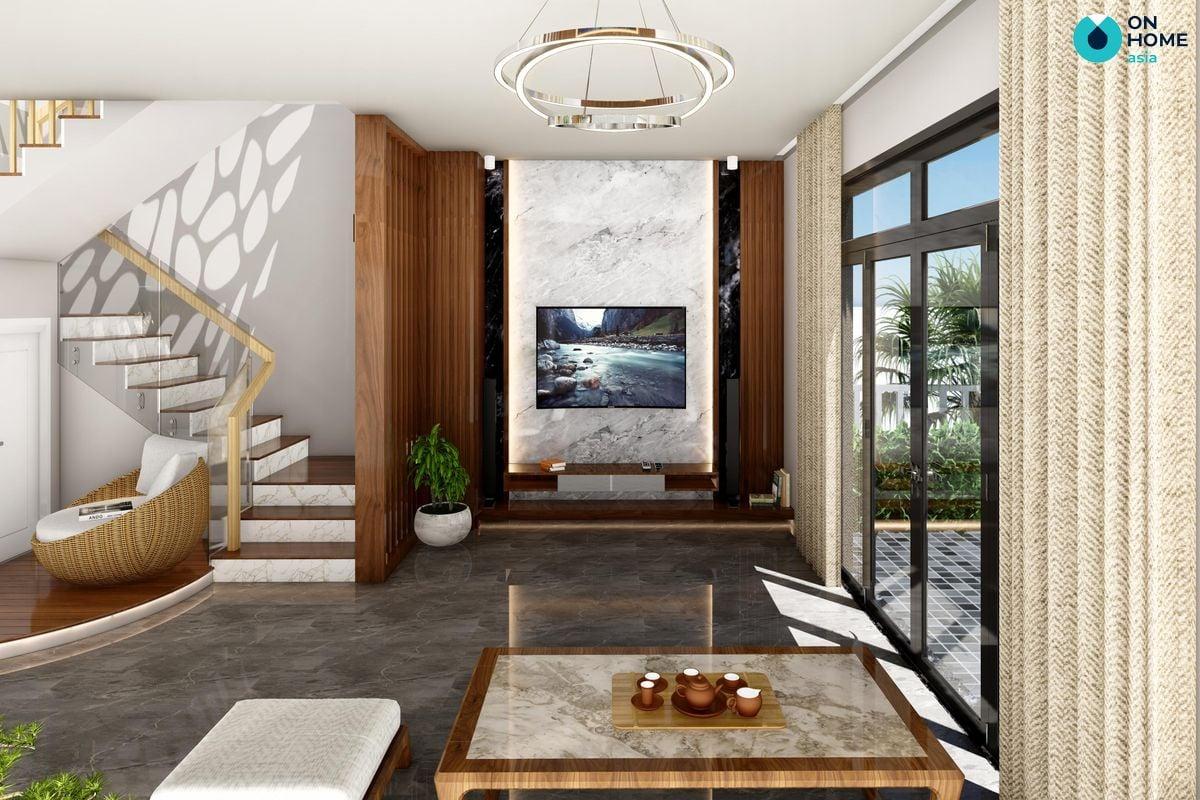 Phòng khách dự án nhà phố Ecolakes Mỹ Phước