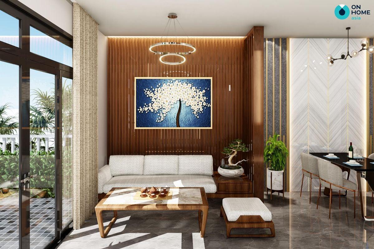 Phòng khách nhà phố Ecolakes Mỹ Phước