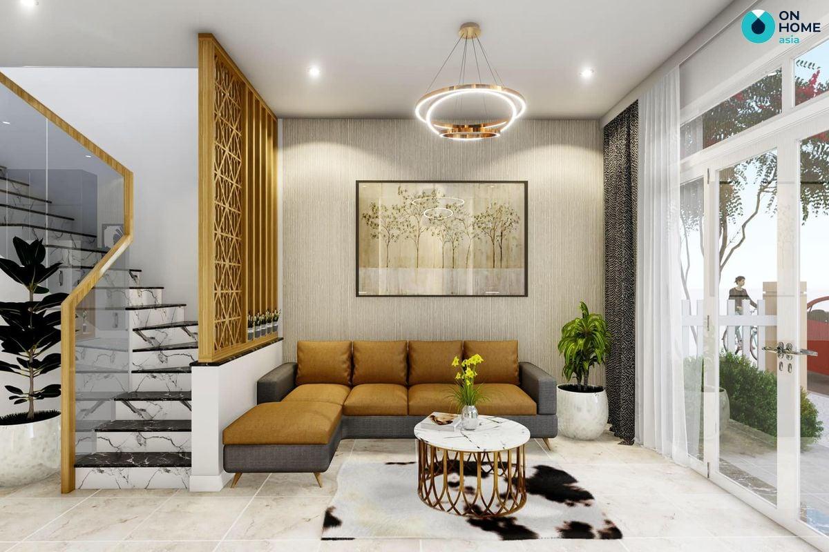 Nội thất phòng khách dự án nhà phố Ecolakes Mỹ Phước