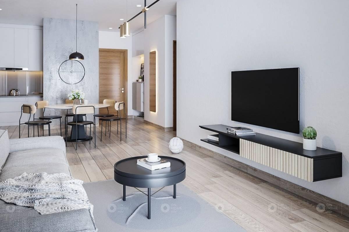 Thiết kế nội thất phòng khách của căn hộ 3 phòng ngủ với phong cách hiện đại