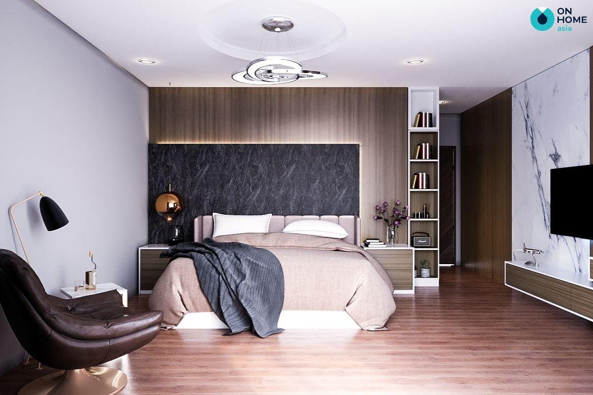 Mẫu phòng ngủ diện tích 11m2 tại nhà phố của gia đình anh Đức Tuấn