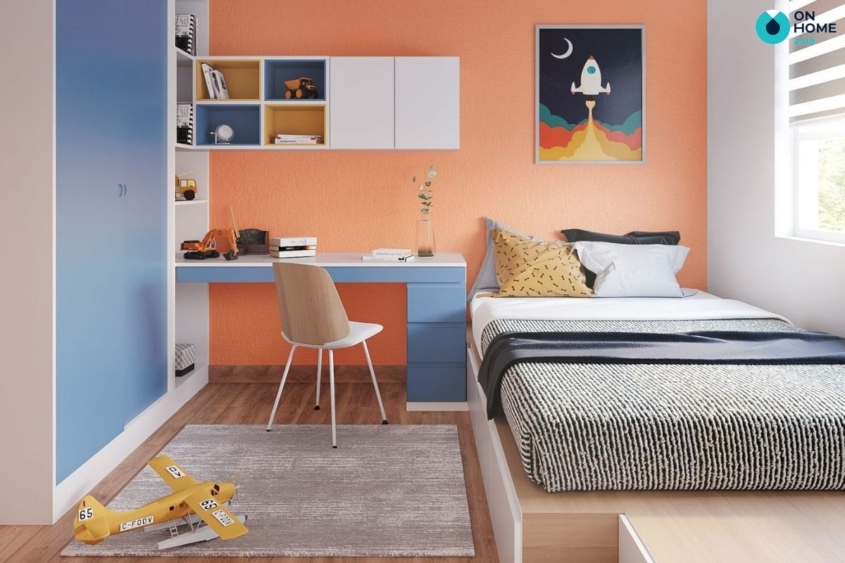 Mẫu phòng ngủ 12m2 với màu sắc cá tính cho bé trai