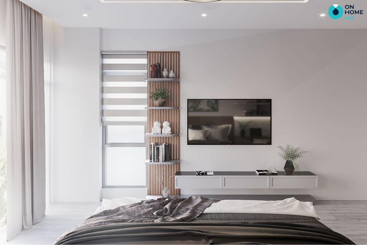 Mẫu phòng ngủ nhà ống diện tích 14m2 được lót sàn gỗ của chị Ngọc Hiệp