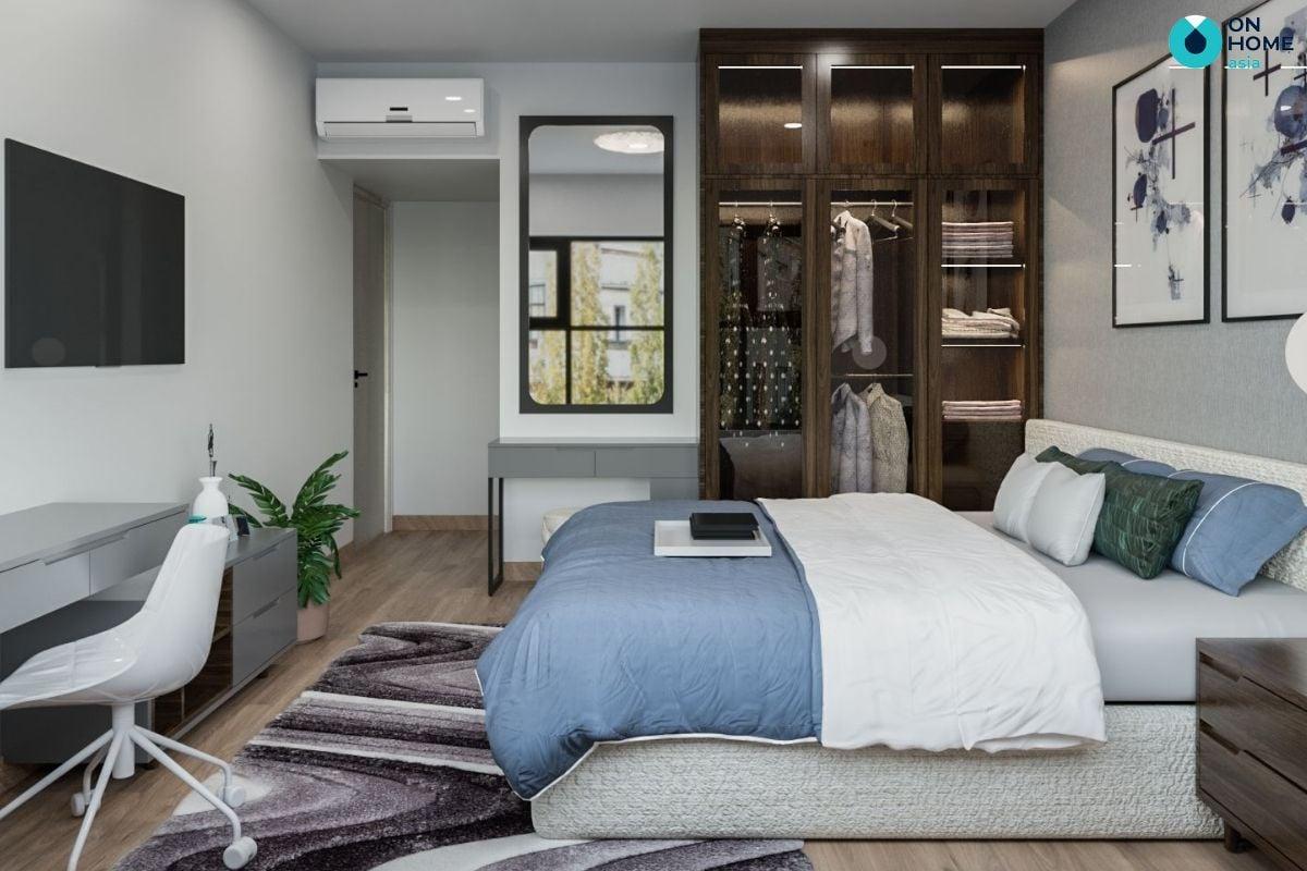 Mẫu phòng ngủ tối giản 15m2 tại căn hộ Compass One của anh Văn Đức