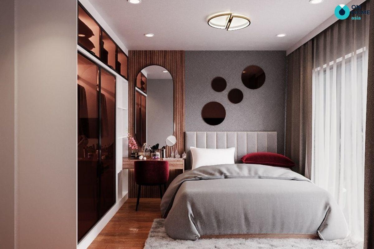 Mẫu phòng ngủ chung cư 16m2 mang thiết kế ấn tượng của chị Khánh Hòa tại The View