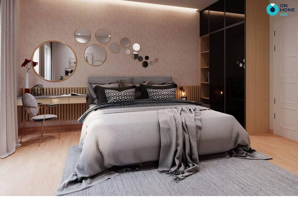 Mẫu nội thất phòng ngủ thông mình 19m2 của gia đình chú Minh Dương ở Compass One