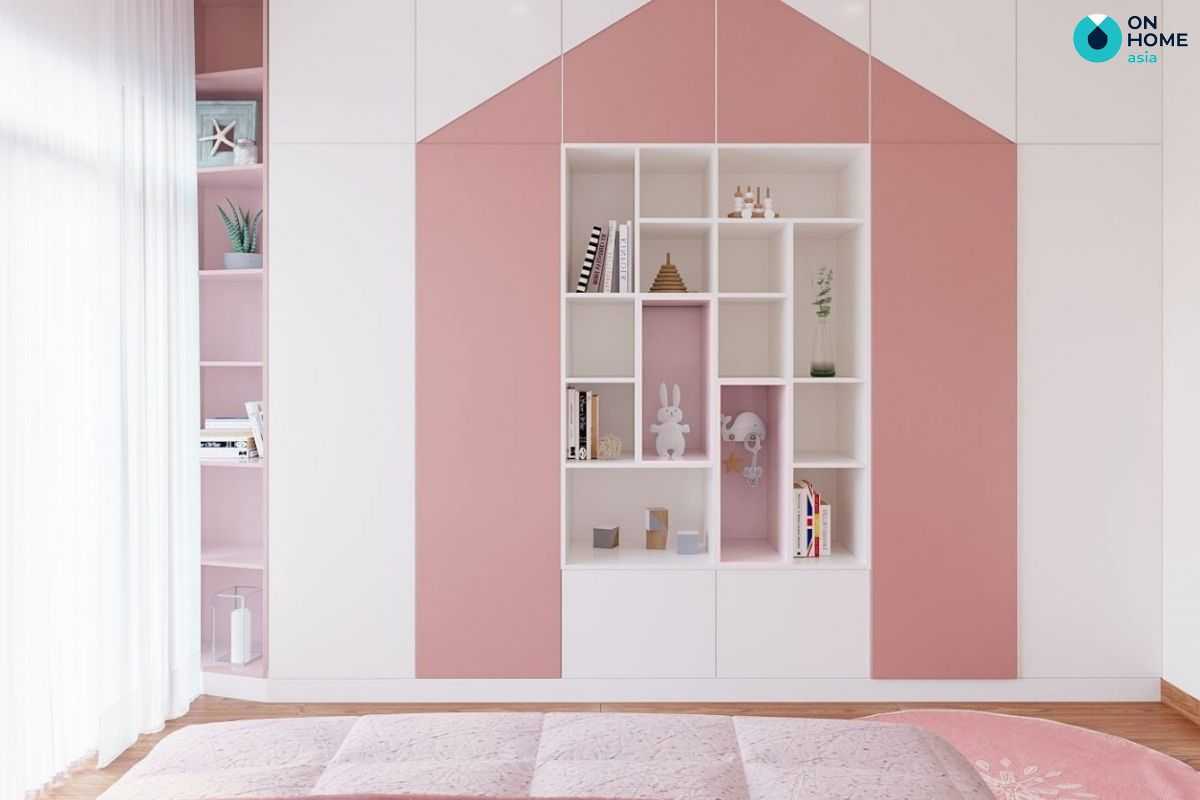 Thiết kế phòng ngủ 18m2 màu sắc nhẹ nhàng cho bé gái