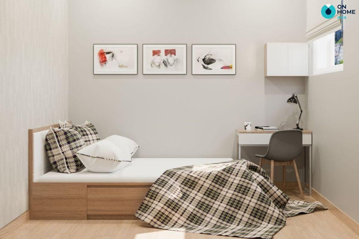 Mẫu phòng ngủ 17m2 mang phong cách đơn giản của chị Bảo Trân tại chung cư The Habitat