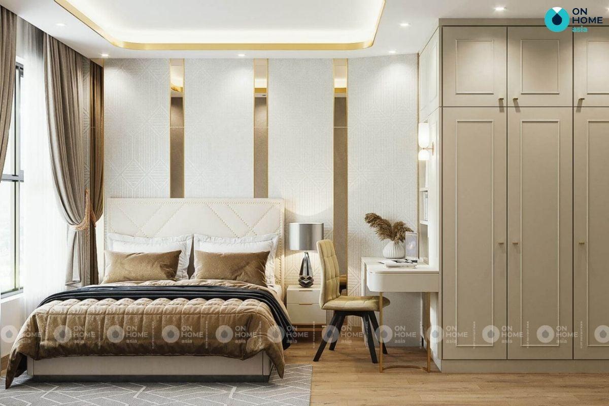 Mẫu phòng ngủ cao cấp 20m2 ở căn hộ Compass One của anh Thanh Phong