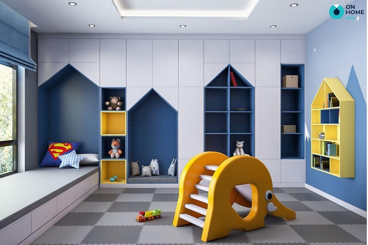 Mẫu phòng ngủ 20m2 được thiết kế cho bé trai năng động