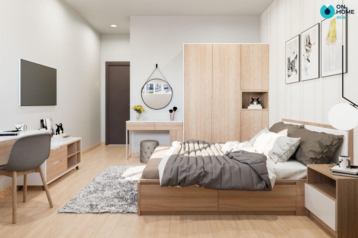 Mẫu nội thất phòng ngủ 26m2 chất liệu gỗ óc chó của chị Thủy Tiên tại căn hộ The View