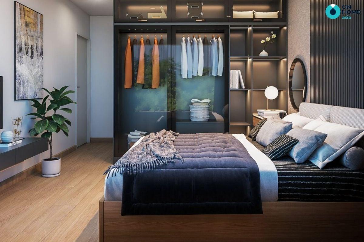 Mẫu phòng ngủ hiện đại 17m2 tại Compass One của chị Trâm Anh