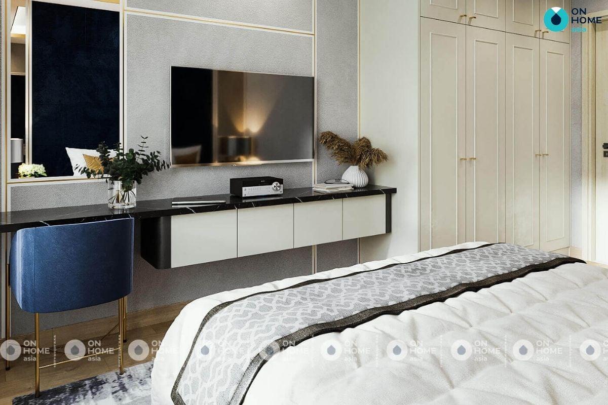 Mẫu phòng ngủ phong cách tân cổ điển có diện tích 28m2 của anh Hoàng Duy ở căn hộ Compass One