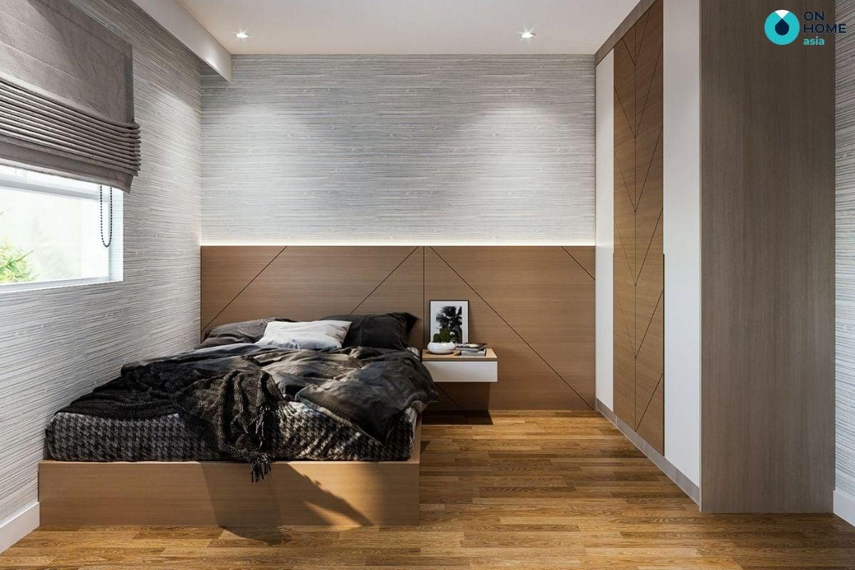 Mẫu phòng ngủ gỗ sồi 5m2 của anh Công Thành tại căn hộ The View
