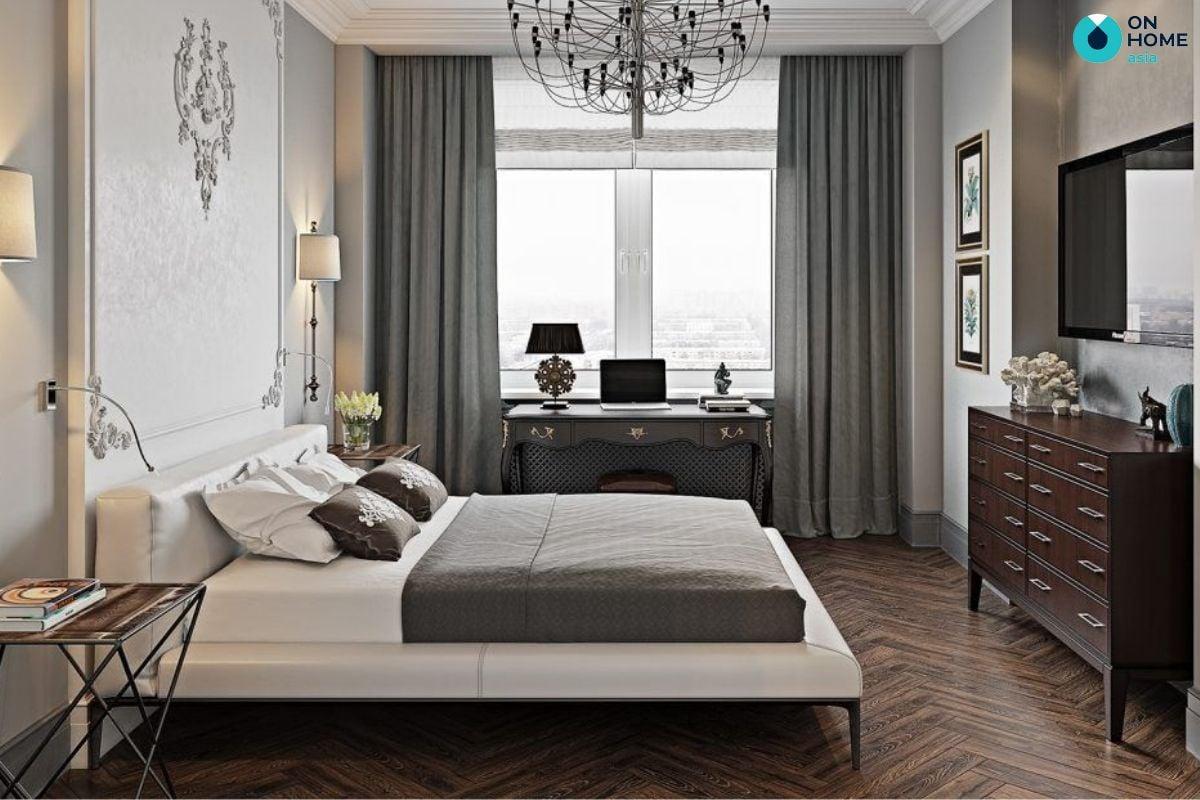 Mẫu phòng ngủ tân cổ điển 7m2 của anh Tấn Bân tại căn hộ The Habitat