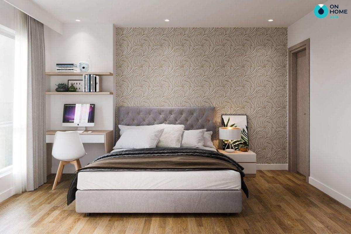 Mẫu phòng ngủ màu trắng 8m2 của gia đình chú Duy Phương ở chung cư The Habitat
