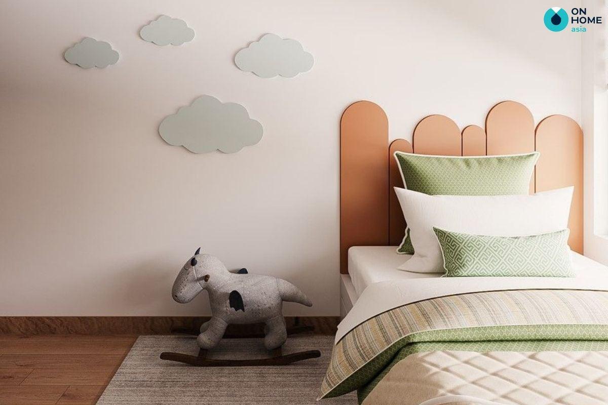 Không gian phòng ngủ nhỏ 10m2 cho bé gái với gam màu sắc tươi sáng