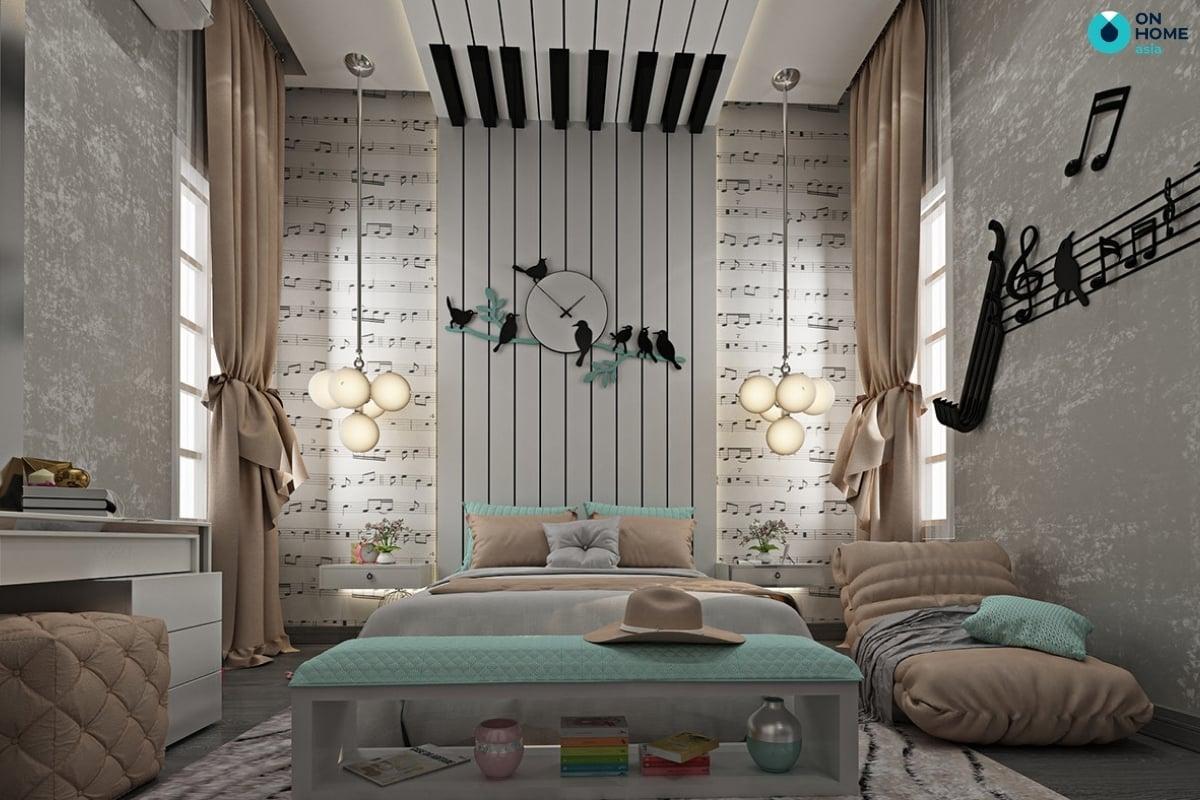 phòng ngủ với decor dán tường là sở thích âm nhạc