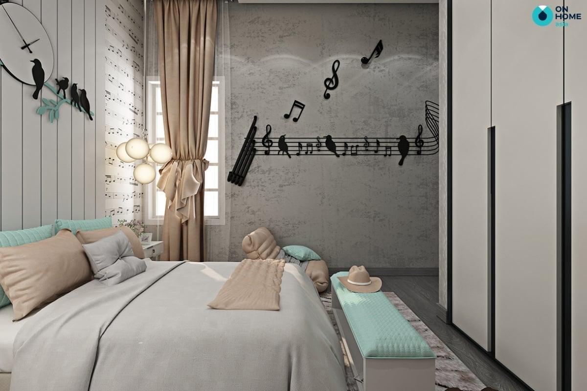 phòng ngủ với màu xám cá tính