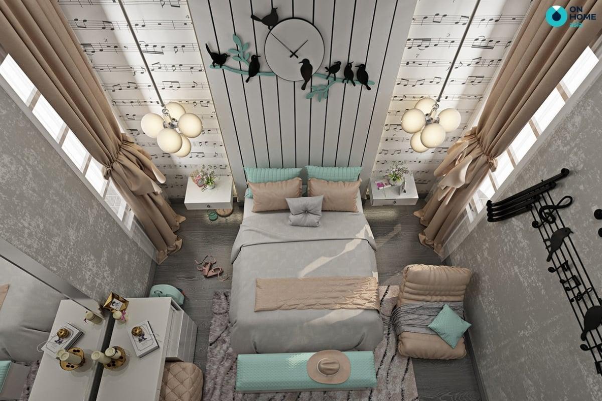 thiết kế tân cổ điển cho phòng ngủ bé gái