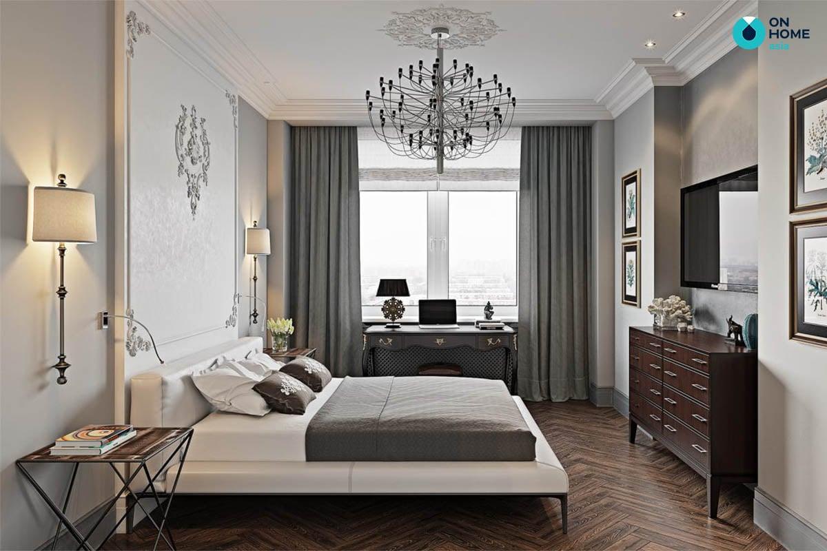 Phòng ngủ căn hộ chung cư tân cổ điển