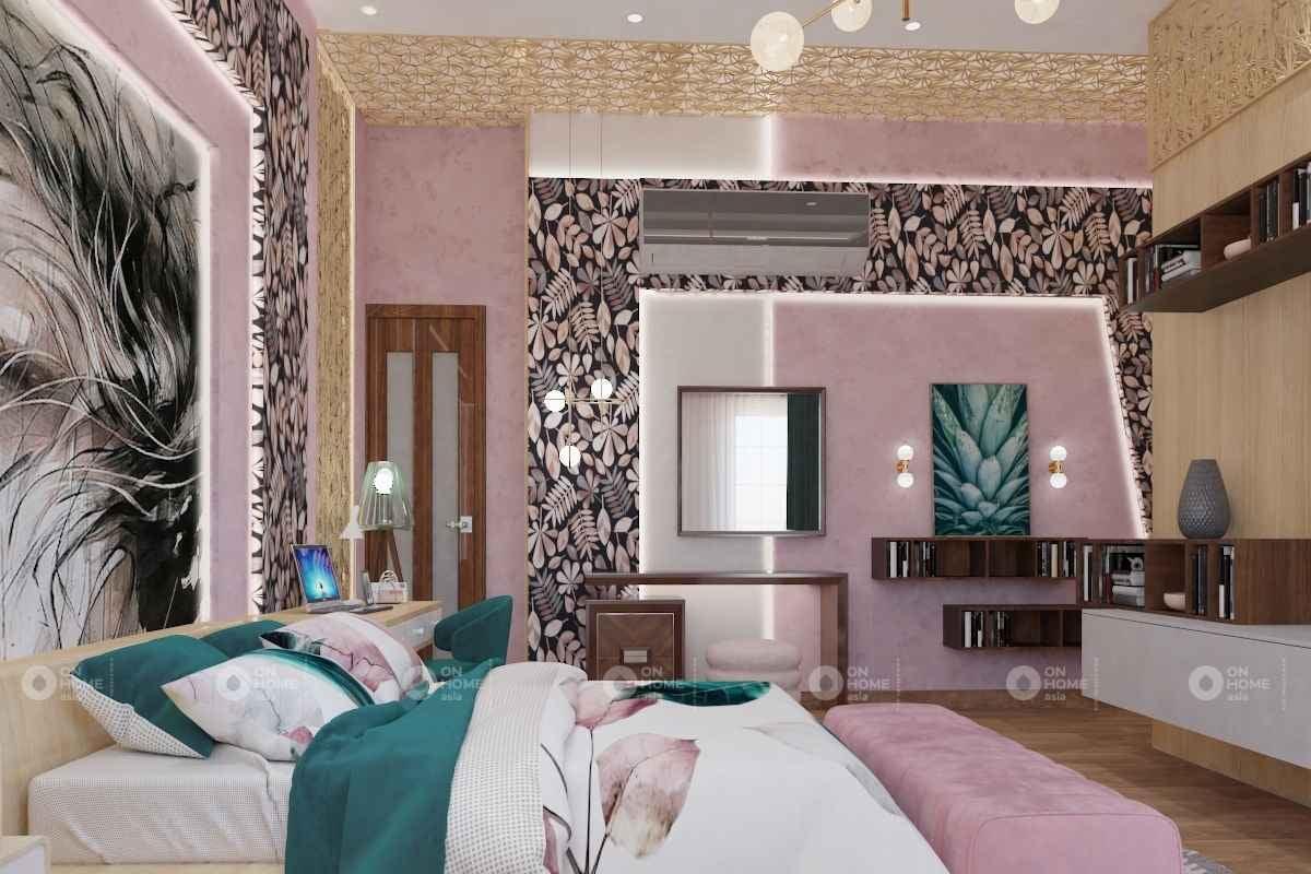 Phòng ngủ có màu xanh và màu hồng