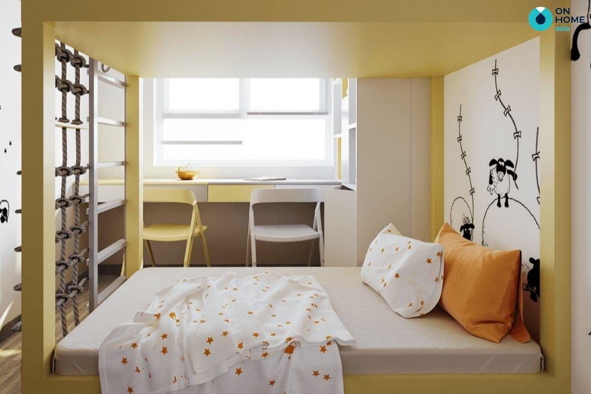 Mẫu phòng ngủ màu trắng vàng 14m2 với giường tầng cho bé trai
