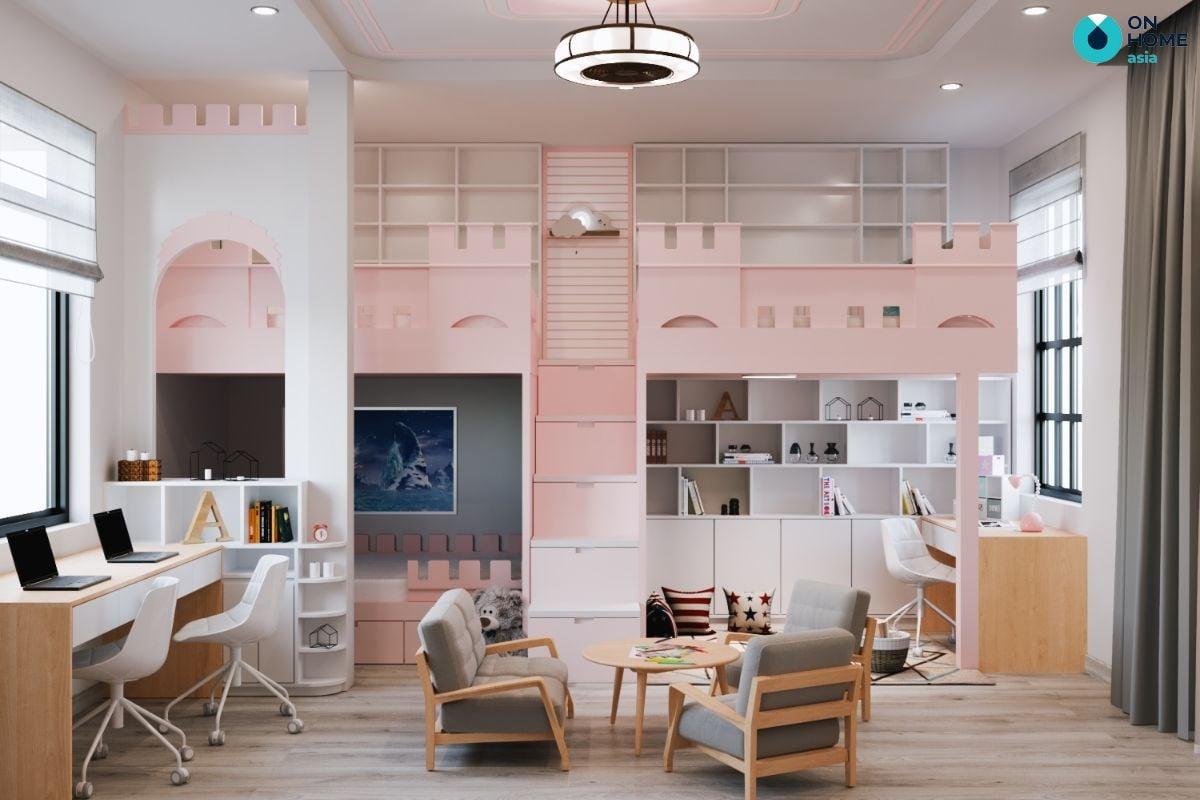 Nội thất phòng ngủ 19m2 màu trắng hồng cho bé gái với thiết kế giường tầng