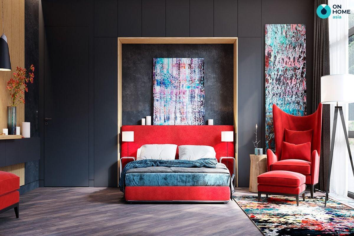 Sử dụng màu đỏ trong phòng ngủ sẽ khiến gia chủ không thoải mái, dễ nổi nóng và khó ngủ