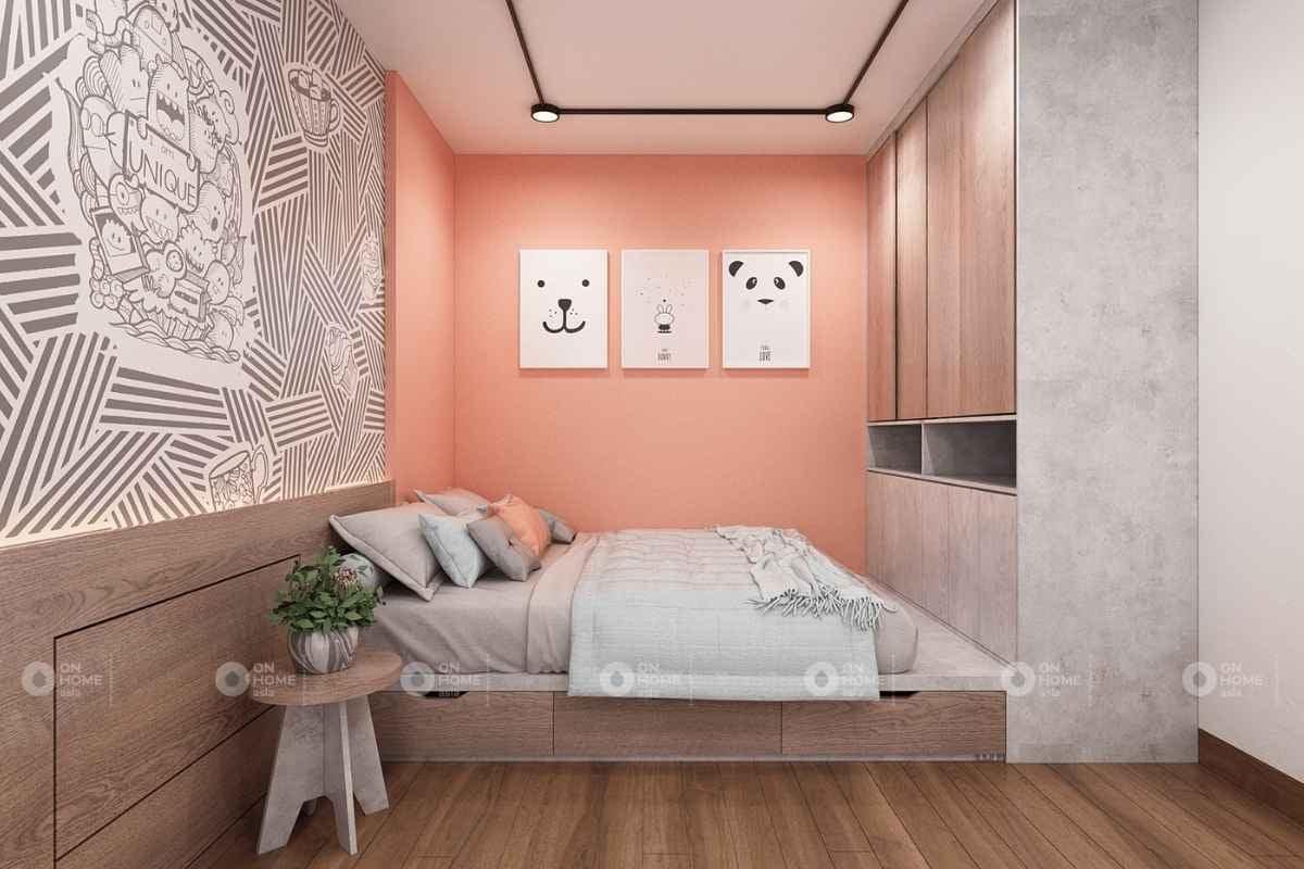Phòng ngủ màu hồng cam