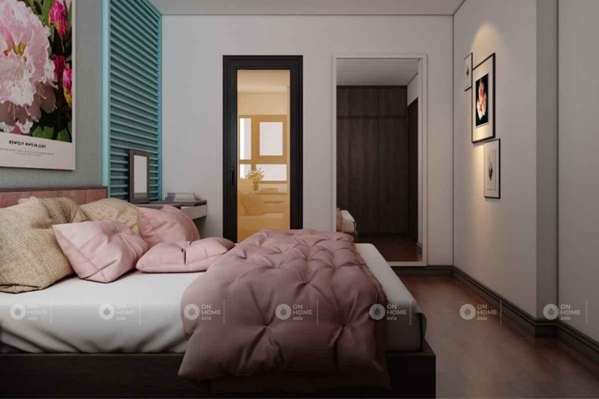 Phòng ngủ màu hồng đơn giản đẹp