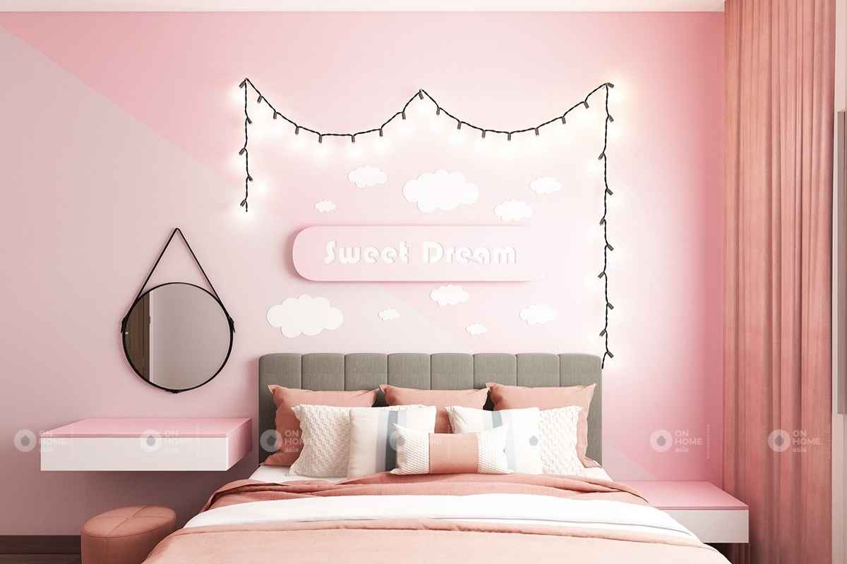 Phòng ngủ màu hồng pastel đẹp mắt