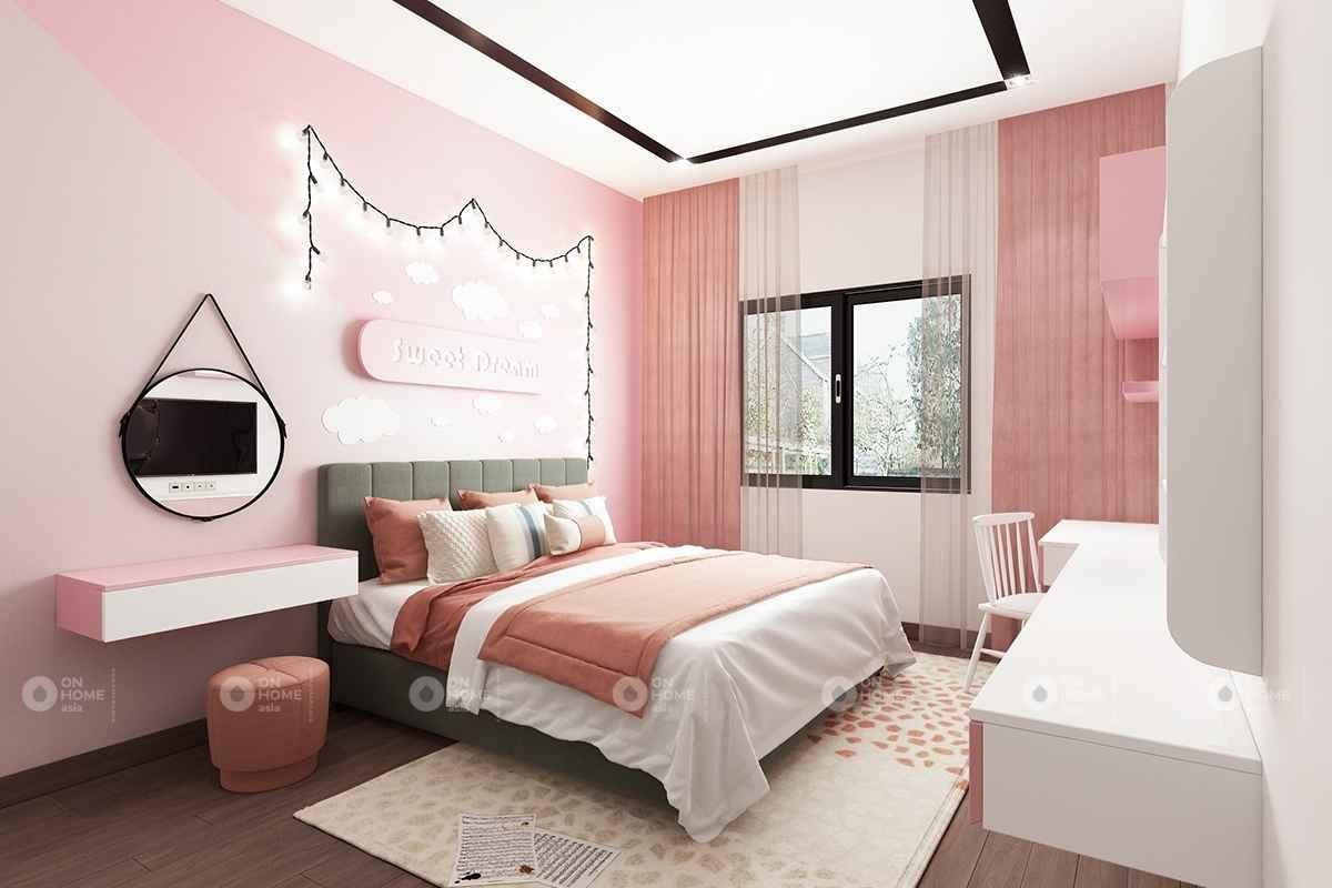 Phòng ngủ màu hồng pastel đẹp