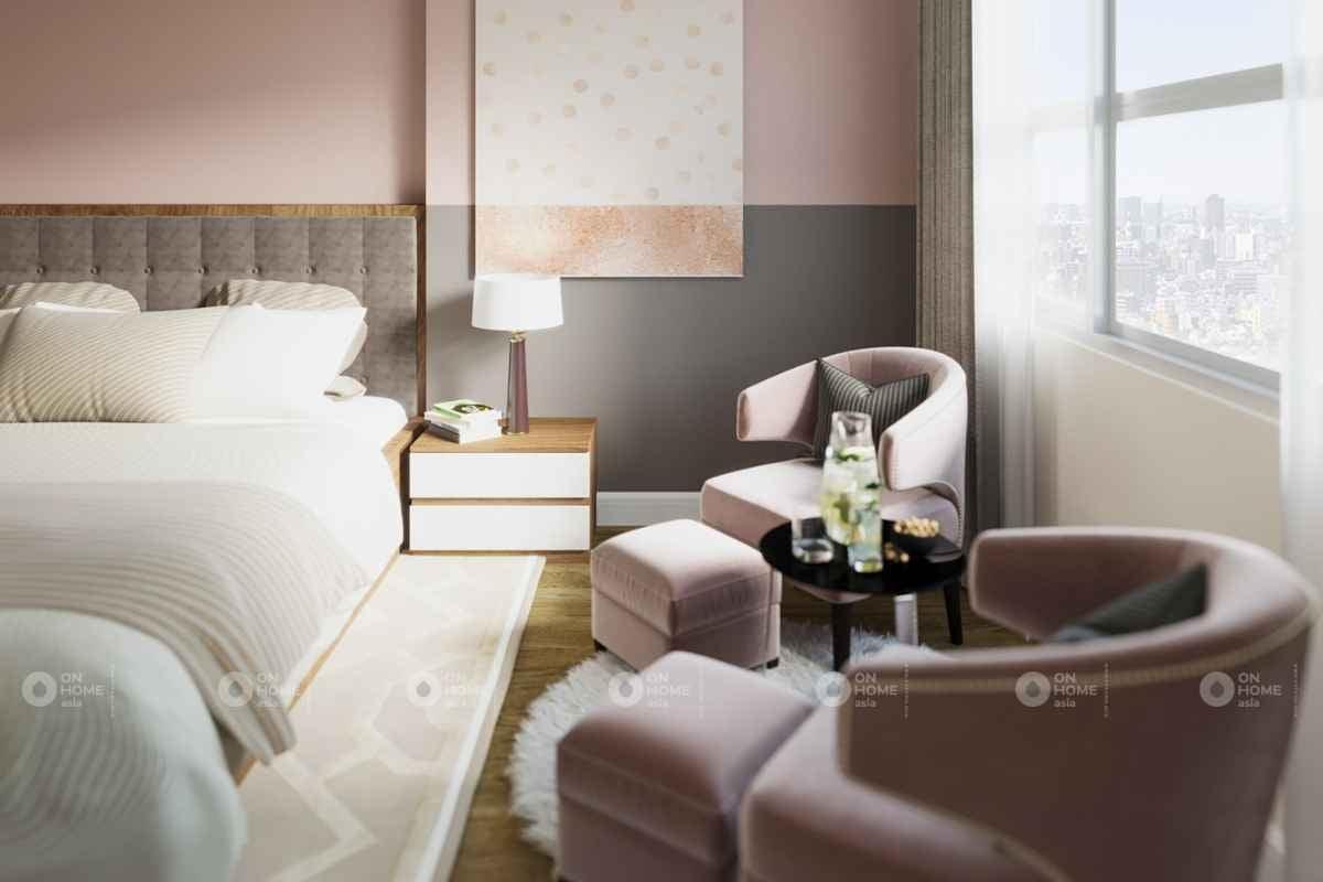 Phòng ngủ màu hồng phấn mang lại không gian nhẹ nhàng
